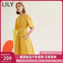 Dress Autumn 2020 212 turmeric 150/76A/XS 155/80A/S 160/84A/M 165/88A/L 170/92A/XL Mid length dress singleton  Short sleeve commute One word collar High waist Solid color zipper A-line skirt routine Others 25-29 years old Type A Lily / Lily Ol style Zipper resin fixation 120300C7294212 other cotton