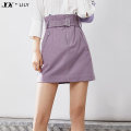 skirt Spring 2021 XS S M L XL 501 gray 801 purple 501 gray a 801 purple a Short skirt commute High waist Pencil skirt Solid color Type A 25-29 years old 121109F6950 51% (inclusive) - 70% (inclusive) other Lily / Lily polyester fiber zipper Ol style