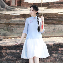 skirt Spring of 2018 150/76 155/80A 160/84A 165/88A 170/92A 175/96A Blue top + skirt Middle-skirt Retro Natural waist 18-24 years old 1506A More than 95% Chiffon Yuezhi cat polyester fiber Polyester 100%