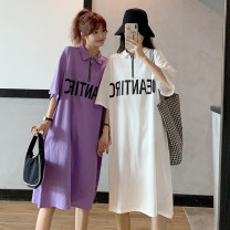 Dress Summer 2021 Light gray, white, purple, black Average size longuette singleton  elbow sleeve Polo collar Loose waist letter zipper Big swing routine Others Type H Other / other zipper KHD475346 31% (inclusive) - 50% (inclusive) other cotton