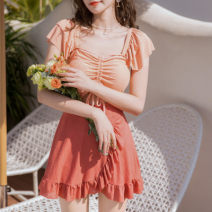 one piece  other S [recommended 80-90 kg], m [recommended 90-100 kg], l [recommended 100-110 kg], XL [recommended 110-120 kg] 0353 blue green, 0353 orange Skirt one piece With chest pad without steel support Polyester, others female Short sleeve Casual swimsuit lattice Lotus leaf edge