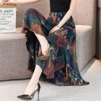 Casual pants Black, 1, 3, 4, 5, 6, 7, 8, 10, 12, 13, 14, 15, 16, 17, 18, 19, 20 XL,2XL,3XL,4XL Summer 2020 Ninth pants Wide leg pants High waist commute Thin money 81% (inclusive) - 90% (inclusive) Korean version