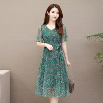 Dress Summer 2020 1, 2, 3, 4 L,XL,2XL,3XL,4XL,5XL Mid length dress singleton  Short sleeve commute V-neck middle-waisted Decor routine 40-49 years old Type A Korean version Bandage, gauze 81% (inclusive) - 90% (inclusive)