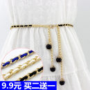 Belt / belt / chain Metal White, black, sapphire, red Waist chain Sweet Single loop Middle age, youth, youth a hook other Glossy surface 0.5cm alloy
