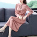Dress Spring 2021 Dark green pink M L XL 2XL 3XL longuette singleton  Long sleeves commute Polo collar middle-waisted Solid color Socket A-line skirt routine 30-34 years old Type A Youranxu / youranxuan Retro Frenulum 1908-1 More than 95% other Other 100% Pure e-commerce (online only)