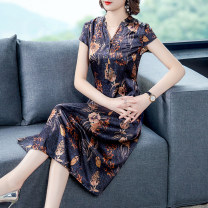 Dress Summer 2021 Blue brown L XL 2XL 3XL 4XL 5XL Mid length dress singleton  Short sleeve commute V-neck High waist Decor Socket A-line skirt routine Others 40-49 years old Type A Youranxu / youranxuan Retro printing More than 95% other Other 100% Pure e-commerce (online only)