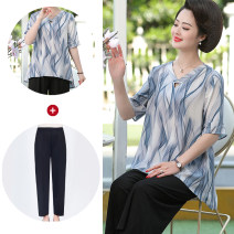 Middle aged and old women's wear Summer 2020 Blue Pink Blue + pants pink + pants XL 2XL 3XL 4XL 5XL fashion T-shirt easy Two piece set Decor 40-49 years old Socket V-neck routine routine ZJ8232 Ziji other Other 100% 96% and above Pure e-commerce (online only) 3 / 5 sleeve Ninth pants