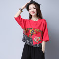 T-shirt Red, sky blue, treasure blue M,L,XL,2XL Summer 2017 elbow sleeve Crew neck easy Regular routine commute hemp 51% (inclusive) - 70% (inclusive) 25-29 years old ethnic style originality