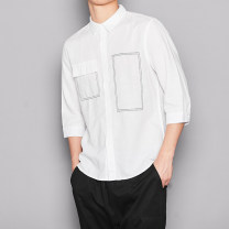 shirt Fashion City Others M. L, XL, 2XL, 3XL, send by post White, black Thin money square neck Short sleeve Self cultivation Other leisure summer B43-wd4231 youth tide 2019 hemp 50% (inclusive) - 69% (inclusive)