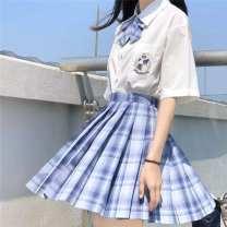skirt Summer 2020 Short skirt High waist Pleated skirt stripe Type A cotton