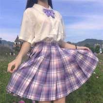 skirt Summer 2020 XS 70 kg, s 85 kg, m 100 kg, l 110 kg, XL 120 kg, 2XL 130 kg Taro cake plaid skirt, taro cake plaid skirt + bow tie, taro cake plaid skirt + shirt + bow tie oV197
