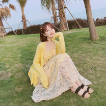 Fashion suit Spring of 2019 S,M,L,XL Sunflower yellow 18-25 years old 51% (inclusive) - 70% (inclusive) acrylic fibres