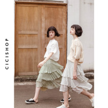skirt Summer of 2019 S,M,L Rice white, Matcha green Middle-skirt Sweet High waist A-line skirt Dot 18-24 years old Cici-Shop Lotus leaf edge