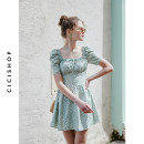 Dress Summer of 2019 New Mint Green XS,S,M,L Middle-skirt singleton  Short sleeve Sweet stand collar High waist Broken flowers zipper other puff sleeve Others 18-24 years old Cici-Shop fold