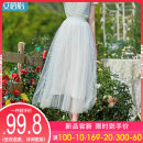 skirt Summer 2021 M L XL Mid length dress fresh High waist A-line skirt Solid color Type A 30-34 years old More than 95% I believe you nylon Gauze Polyamide fiber (nylon) 100%