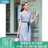 Dress Summer 2021 Blue check blue check (pre sale) M L XL Mid length dress singleton  Short sleeve commute middle-waisted Socket A-line skirt routine Others 30-34 years old I believe you literature Embroidered lace 221SVIPB2093749-XYZ More than 95% cotton Cotton 100%