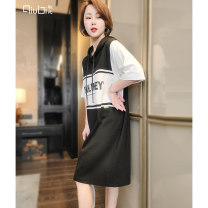 Dress Summer 2021 Grey black Average size Mid length dress singleton  elbow sleeve commute Hood Loose waist letter Socket A-line skirt routine Others 30-34 years old Type H Qiubi Korean version Splicing 51% (inclusive) - 70% (inclusive) cotton Pure e-commerce (online only)