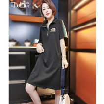 Dress Summer 2021 black M L XL Mid length dress singleton  Short sleeve commute Polo collar Loose waist letter Socket A-line skirt routine Others 30-34 years old Type A Qiubi Korean version Embroidery 30% and below nylon Viscose fiber 63.9% polyamide fiber 28.5% polyurethane elastic fiber 7.6%