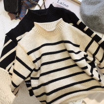 Sweater / sweater 90cm,100cm,110cm,120cm,130cm,140cm cotton female Other / other Korean version There are models in the real shooting Socket High collar nothing stripe 12 months, 18 months, 2 years old, 3 years old, 4 years old, 5 years old, 6 years old, 7 years old, 8 years old