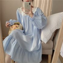 Pajamas / housewear set female Other / other Average size White dress, white suit, blue dress, blue suit cotton Long sleeves Simplicity Leisure home autumn routine Small lapel Solid color trousers Socket youth 2 pieces rubber string More than 95% printing 200g and below longuette
