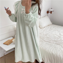 Nightdress Other / other White, green Average size Sweet Long sleeves Leisure home longuette winter Cartoon animation Crew neck other printing More than 95% Flannel 200g and below