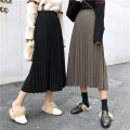 skirt Autumn of 2019 Average size Khaki, black Middle-skirt Versatile Natural waist Pleated skirt Type A 30% and below knitting Other / other polyester fiber