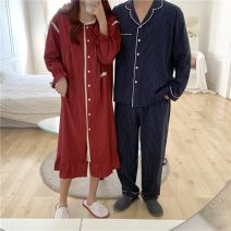 Pajamas / housewear set lovers Other / other Average size Red striped nightdress, blue striped men's cotton Long sleeves Sweet pajamas autumn Crew neck stripe trousers double-breasted youth rubber string 21% (inclusive) - 40% (inclusive) printing Middle-skirt