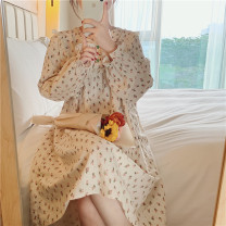 Nightdress Other / other Picture color Average size Sweet Long sleeves Leisure home Middle-skirt autumn Broken flowers Crew neck cotton printing More than 95% other 200g and below