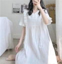 Pajamas / housewear set female Other / other Average size white cotton Short sleeve Sweet Leisure home summer routine V-neck Solid color Socket More than 95% other Button decoration 200g and below longuette