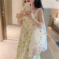Nightdress Other / other Green, yellow Average size Sweet camisole Leisure home longuette summer Plants and flowers youth cotton printing More than 95% pure cotton 9195-A 200g and below