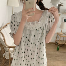 Nightdress Other / other Green flowers on a white background Average size Sweet Short sleeve Leisure home summer Plants and flowers youth square neck cotton Mosaic decoration other