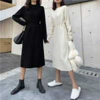 Dress Winter of 2019 Apricot, black Average size Miniskirt singleton  Long sleeves commute Crew neck High waist Solid color Socket other routine Others 18-24 years old Type X Other / other Simplicity 31% (inclusive) - 50% (inclusive) knitting polyester fiber