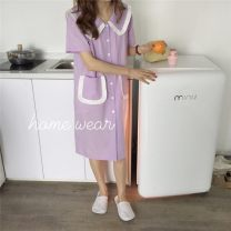 Pajamas / housewear set female Other / other Average size cotton Middle sleeve Sweet Leisure home summer routine Big lapel Solid color Front buckle More than 95% other Button decoration 200g and below Middle-skirt