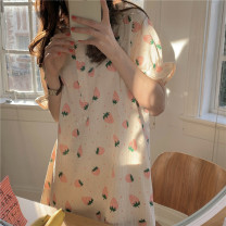 Nightdress Other / other Yellow, pink Average size Sweet Short sleeve Leisure home longuette summer Plants and flowers youth Crew neck cotton Lotus leaf edge More than 95% pure cotton 200g and below