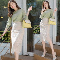 skirt Summer 2020 S,M,L Mid length dress commute High waist skirt Solid color Type H 31% (inclusive) - 50% (inclusive) Lace other Cut out, zipper, lace Korean version