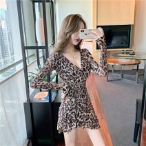 Dress Spring 2020 S,M,L,XL,2XL Short skirt singleton  Long sleeves commute V-neck middle-waisted Leopard Print Socket One pace skirt routine Others 18-24 years old Type A Korean version Four point seven 30% and below