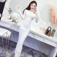 Dress Autumn of 2019 White, black S,M,L,XL,2XL longuette singleton  Long sleeves commute Crew neck High waist Solid color zipper One pace skirt other Others 18-24 years old Type A Other / other Korean version 31% (inclusive) - 50% (inclusive) Lace