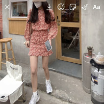 Dress Spring 2021 Red, blue S, M Short skirt singleton  Long sleeves commute Crew neck High waist Broken flowers Socket other other Others 18-24 years old Others Korean version three point one eight 51% (inclusive) - 70% (inclusive)