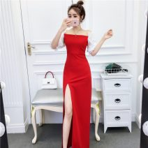 Dress Summer of 2019 Red, black S,M,L longuette singleton  Short sleeve square neck High waist Solid color Socket other other 18-24 years old Other / other