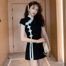 Dress Spring 2020 Short sleeve black suit # 9103, long sleeve black white suit # 9077, short sleeve stitching lace suit # 9105 S,M,L,XL,2XL Short skirt Two piece set Short sleeve commute stand collar Solid color zipper 25-29 years old Type A 3.16..
