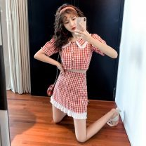 Dress Summer 2020 Red lattice S,M,L Short skirt Two piece set Short sleeve commute Doll Collar High waist lattice Single breasted A-line skirt routine Others 18-24 years old Type A Korean version 5.18. 31% (inclusive) - 50% (inclusive) other