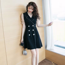 Dress Summer 2021 S,M,L,XL,2XL,3XL,4XL Short skirt singleton  Long sleeves V-neck Solid color zipper A-line skirt routine Type A Other / other Splicing 10.15..