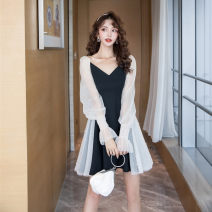 Dress Autumn 2020 Long Sleeve Black ᦇ 2652, Short Sleeve Black ᦇ 2321, short sleeve white ᦇ 1156 S,M,L,XL Short skirt singleton  Long sleeves commute V-neck middle-waisted Solid color zipper A-line skirt bishop sleeve 25-29 years old Type A Korean version eight point one two