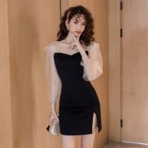 Dress Autumn of 2019 black S,M,L,XL,2XL Short skirt singleton  Long sleeves commute other High waist Solid color Socket One pace skirt pagoda sleeve Others 18-24 years old Type A Other / other Korean version Nail bead ten point five 51% (inclusive) - 70% (inclusive) other other