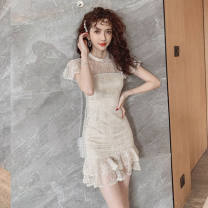 Dress Summer 2020 Apricot S,M,L,XL Short skirt singleton  Short sleeve commute Crew neck High waist Solid color zipper Ruffle Skirt routine Others 25-29 years old Type H Korean version Lotus leaf edge three point two five