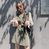 Dress Autumn 2020 Army green, black S,M,L,XL Short skirt singleton  Long sleeves commute tailored collar Solid color double-breasted A-line skirt Lotus leaf sleeve Others 25-29 years old Type A Ol style