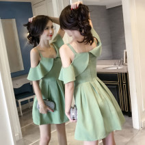Dress Spring 2020 Green, black S,M,L,XL Short skirt singleton  Short sleeve commute V-neck High waist Solid color Socket A-line skirt other camisole Type A Korean version backless three point two nine 51% (inclusive) - 70% (inclusive) other