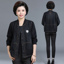 Middle aged and old women's wear Autumn of 2018 Black blue fashion Jacket / jacket easy singleton  Solid color 40-49 years old Cardigan moderate Crew neck Medium length (length 50-70cm) routine QB19239 Thousand silk pocket other Other 100% 96% and above Pure e-commerce (online only) Single breasted