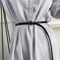 Belt / belt / chain Double skin leather female belt Versatile Single loop Children, teenagers, youth Smooth button other soft surface 1cm alloy alone Other / other