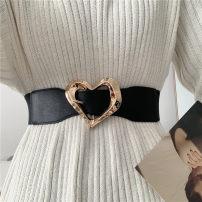 Belt / belt / chain Pu (artificial leather) Black, white female belt literature Single loop Youth, youth Pin buckle heart-shaped soft surface 5.7cm alloy Tightness Liu Wuwei Twisted love elastic belt
